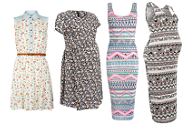 The aztec midi vs flippy floral dresses at New Look