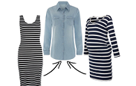 Wear it now | Denim shirt & striped dress