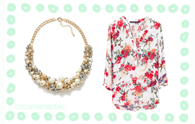 Buy it now | Floral blouse and pearls