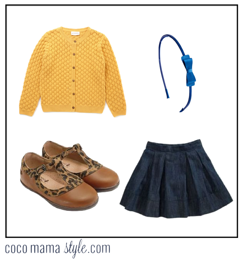 coco mama style | mama and me | mini me style | mustard knit and denim | girl