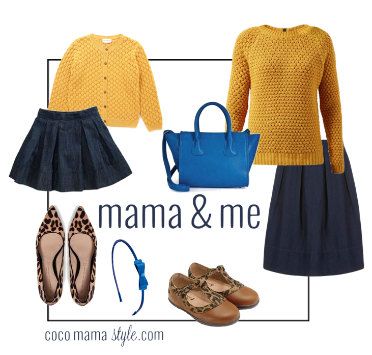 coco mama style | mama and me | mustard knits | denim skirts