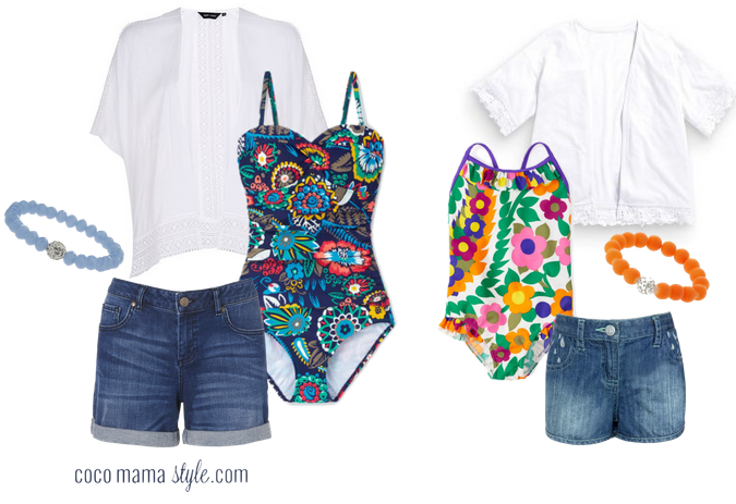 mama and me print swimming costumes and kimonos