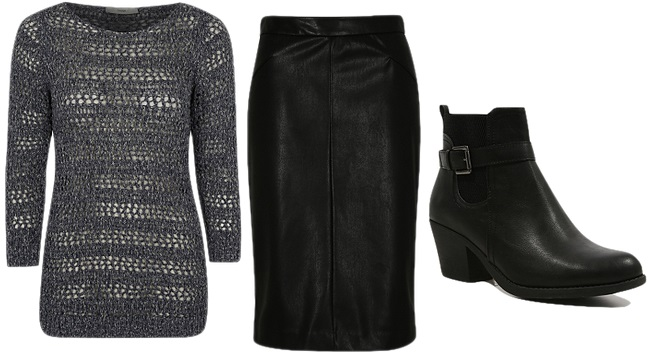 cocomamastyle | George LFW knit and leather skirt with boots
