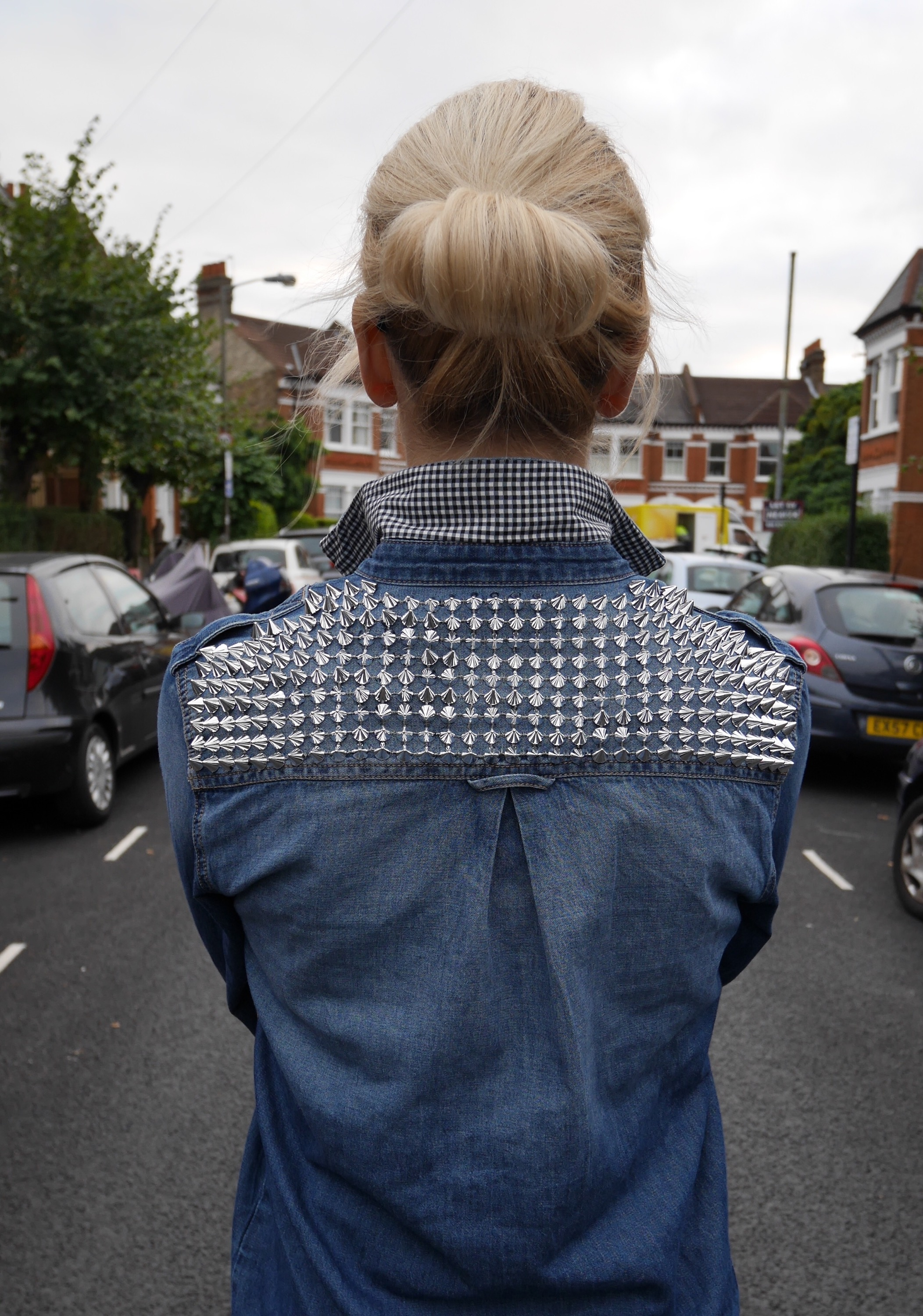 customised denim shirt | studs and gingham | cocomamastyle