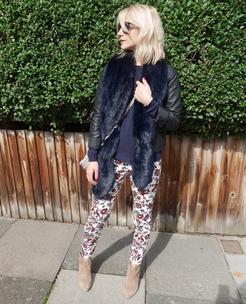 Outfit of the day | floral print and faux fur
