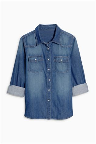 customised denim shirt - studs and gingham - cocomamastyle