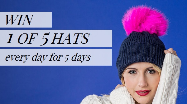 WIN - navy bobble hat with pink pom pom cocomamastyle