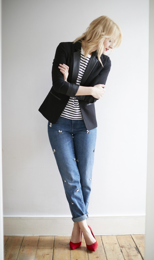 cocomamastyle | denim | stripe and blazer outfit