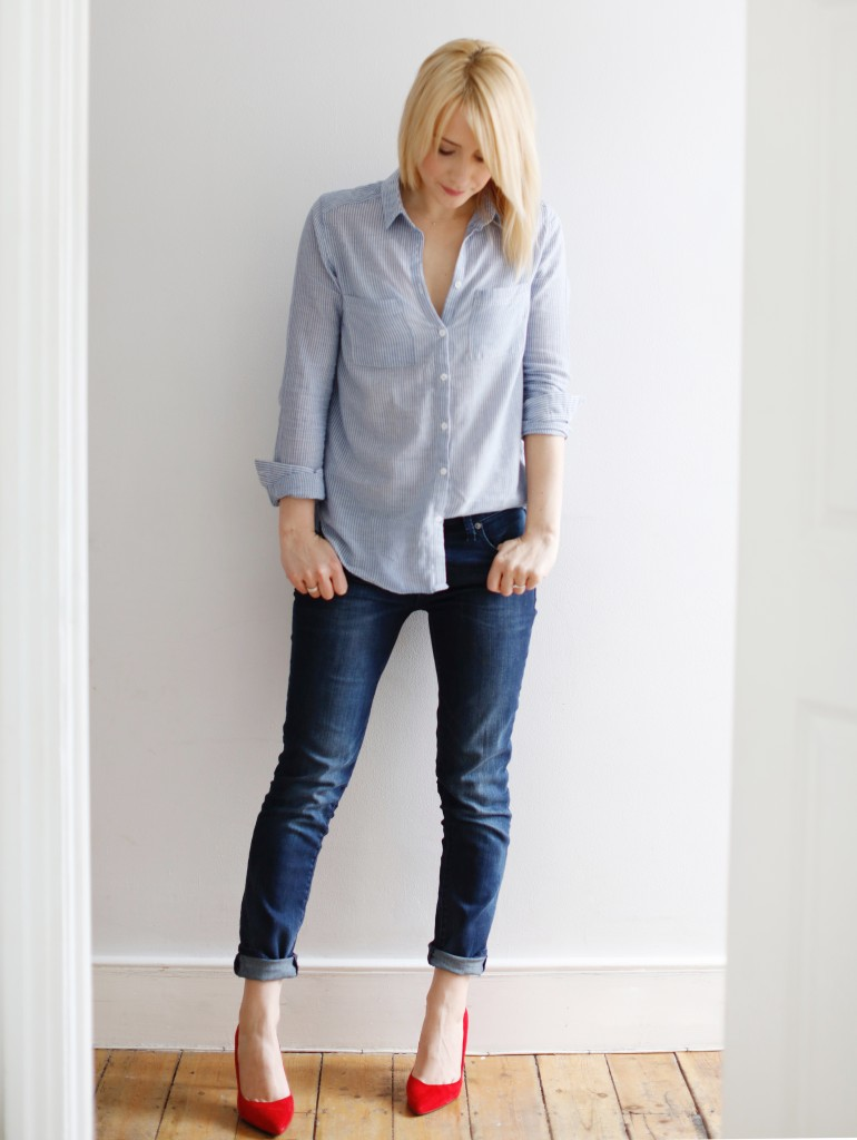 cocomamastyle | outfit of the day | stripe shirt and girlfriend jeans
