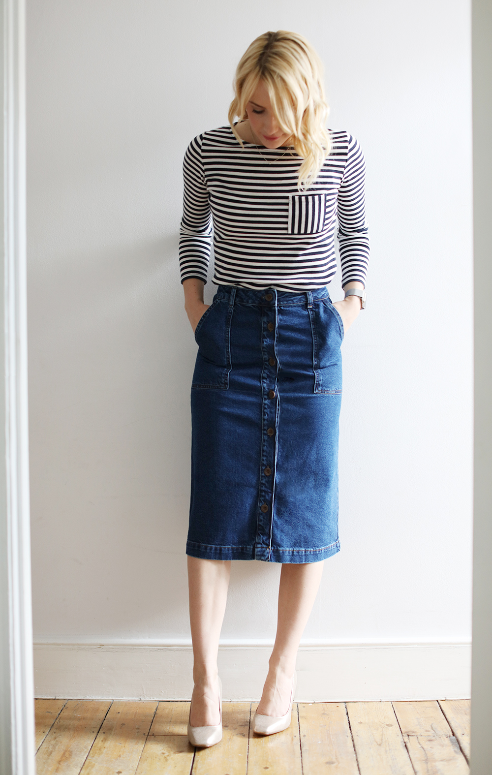 CocoMamaStyle blog | outfit of the day | breton top | denim a line skirt