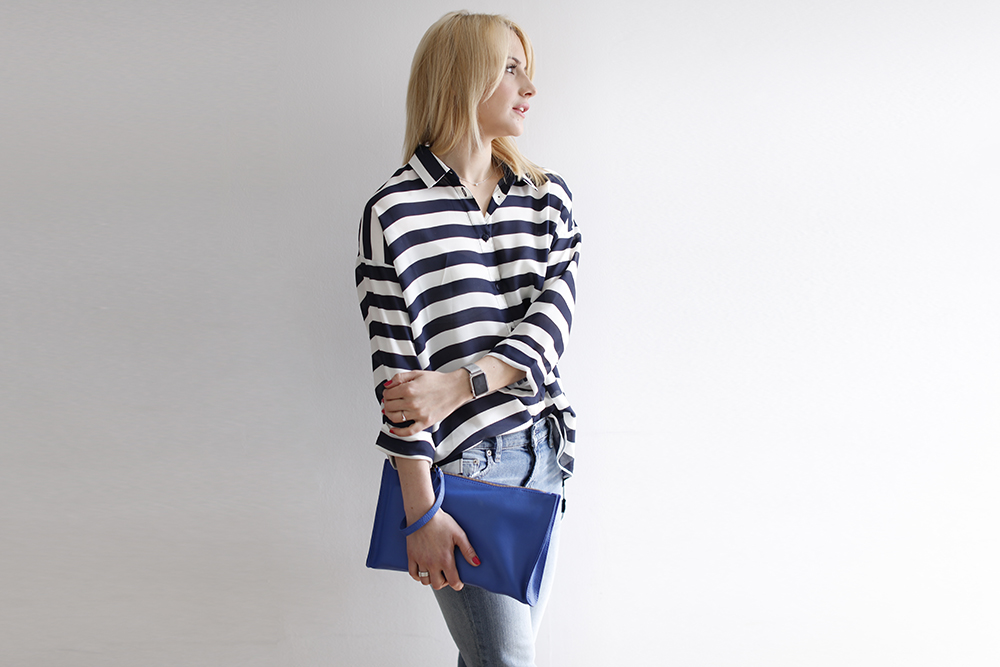 CocoMamaStyle blog | outfit of the day | stripe shirt | girlfriend jeans | blue bag2