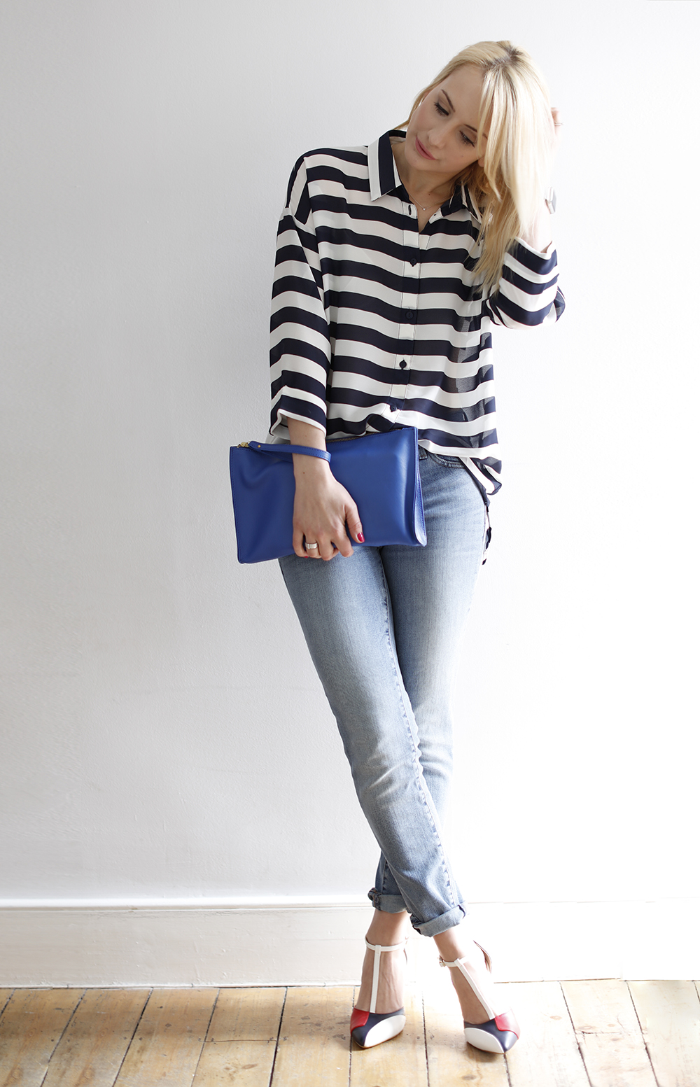 b720a404009c CocoMamaStyle blog | outfit of the day | stripe shirt | girlfriend jeans