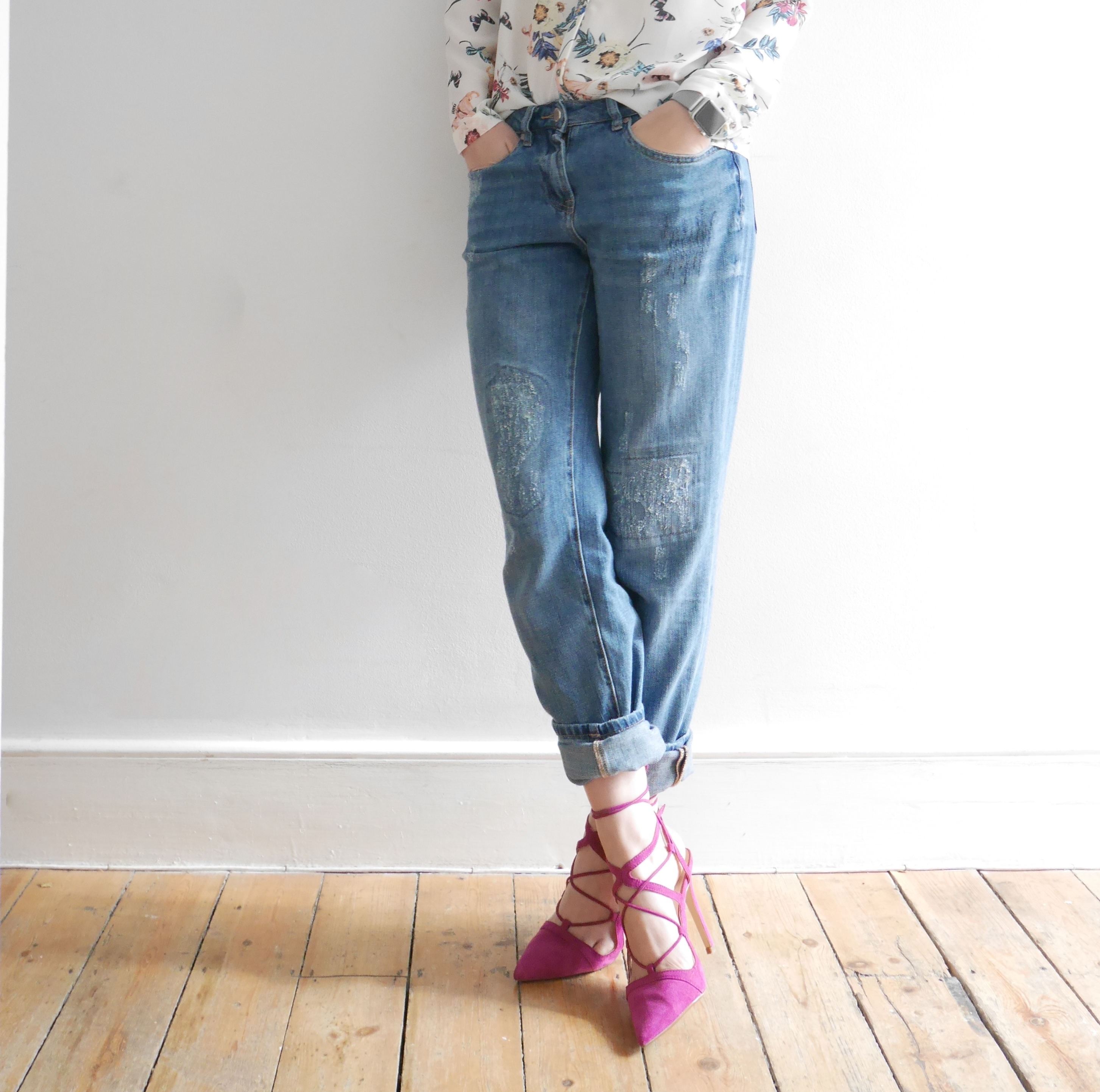 coco mama style | george | outfit inspiration| distressed boyfriend jeans