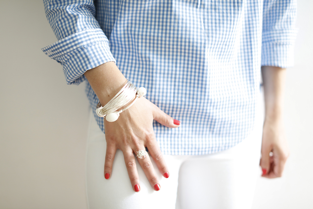 CocoMamaStyle | OOTD | gingham shirt La redoute | black and sigi jewellery