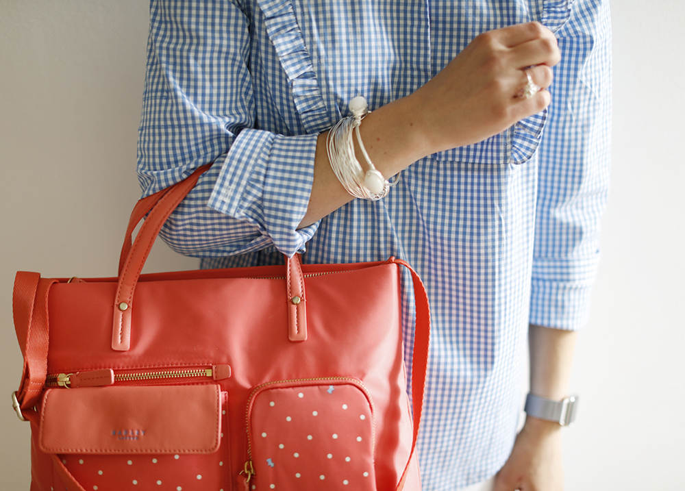 CocoMamaStyle | OOTD | gingham shirt La redoute | black and sigi jewellery | radley bag