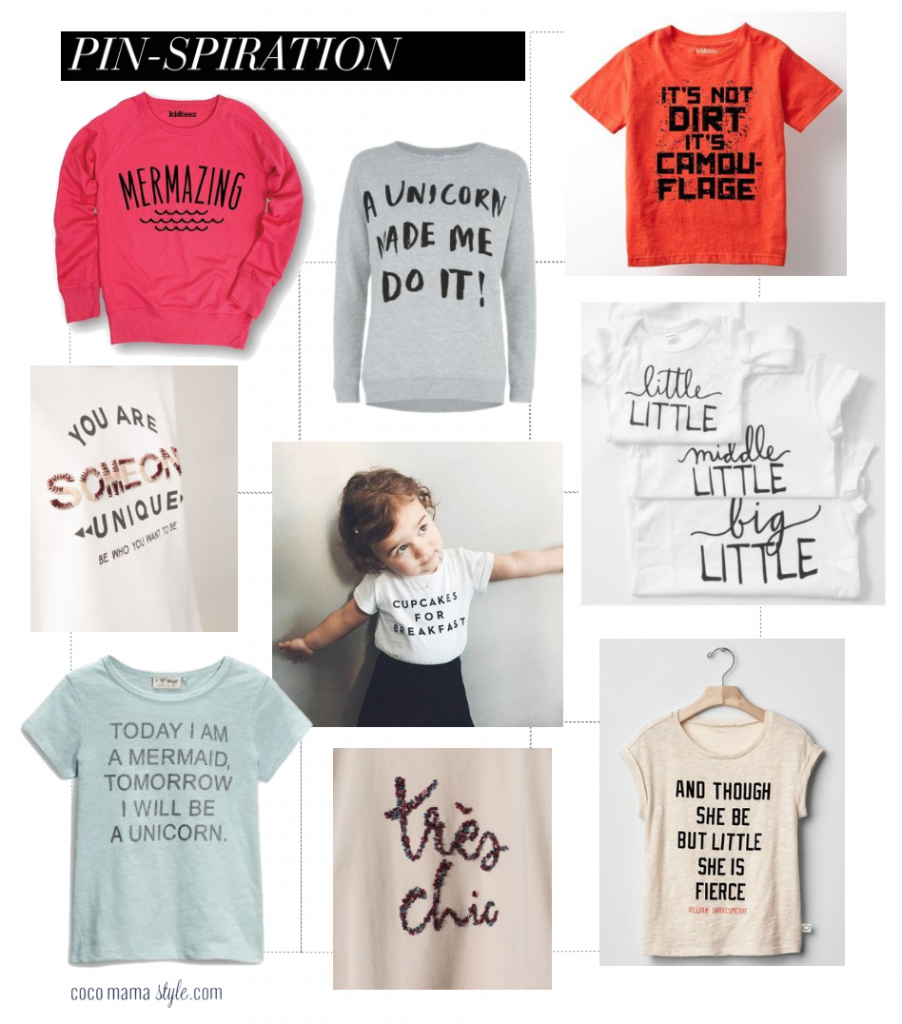 slogan tops for children | pinterest inspiration collage |cocomamastyle.