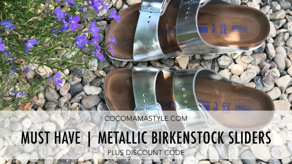 Must Have | Metallic Birkenstock sliders + DISCOUNT CODE