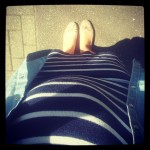 cocomamastyle | denim shirt striped dress | maternity style