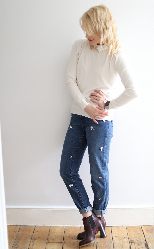 cocomamastyle | denim | cream knit outfit